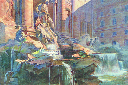 Rome, Trevi Fountain, watercolour by C.T.G. Fornilli, publ. 1927.