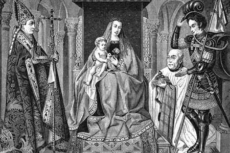 The Virgin and Child with Canon van der Paele, wood engraving after a painting by J. van Eyck from Le Moyen Age by Paul Lacroix, 1871.