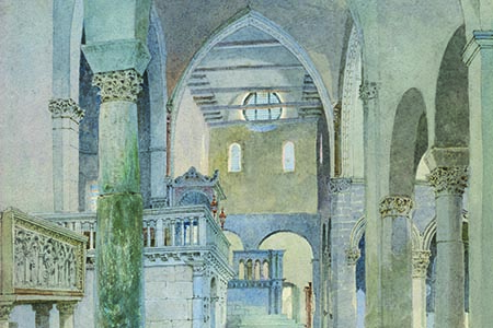 Aquileia, Basilica, early-20th-century watercolour.
