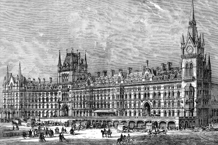 St Pancras Station, wood engraving c. 1880.