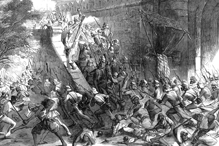 'The Storming of Delhi – the Cashmere Gate', wood engraving from The Illustrated London News, 1857.