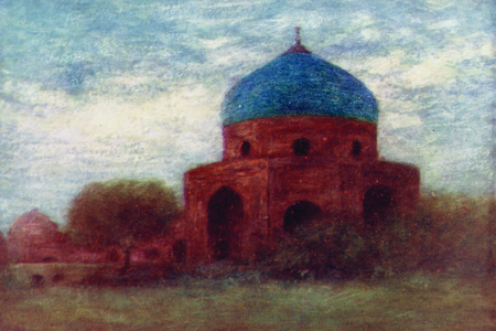 Amritsar, the Porcelain Dome, watercolour by Mortimer Menpes, publ. 1910.