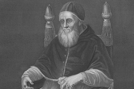 Pope Julius II, 18th century copper engraving, after Raphael.