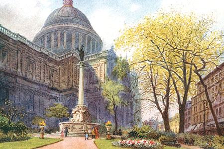 St. Paul's Cathedral, watercolour by A.R. Hope Moncrieff, publ. 1916.