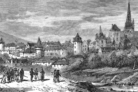 Autun, wood engraving c. 1860.