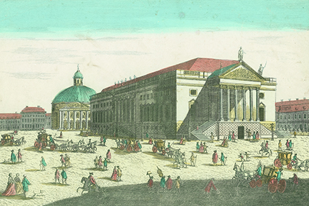 Berlin, Staatsoper, copper engraving c. 1750.