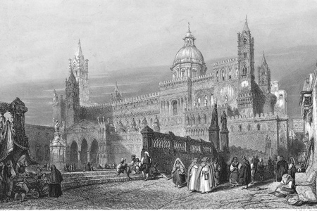 Palermo cathedral, steel engraving c.1850
