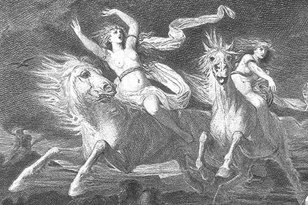 Valkyries, engraving 1883 by A. Becker.