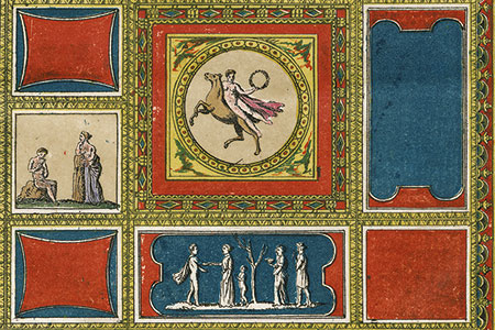 Early-19th-century engraving of a Roman wall and ceiling decoration, original hand colouring.