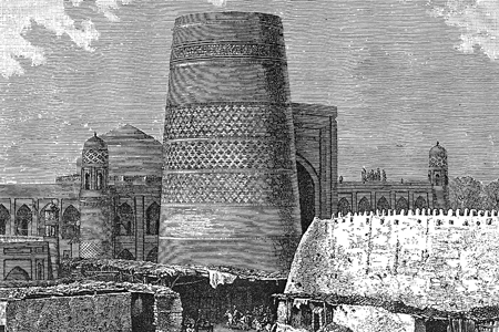 Khiva, the Grand Minaret, wood engraving c. 1880.