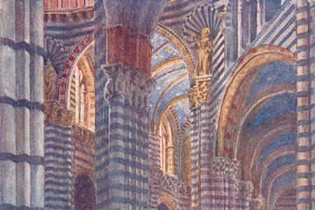 Siena, Cathedral, watercolour by W.W. Collins, publ. 1911.