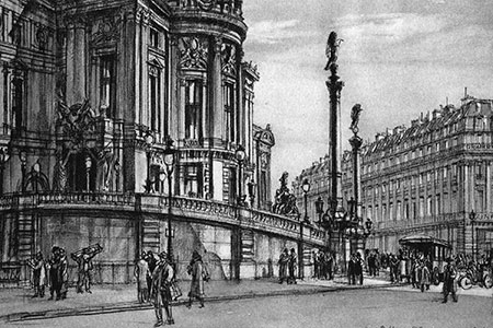 The Palais Garnier, by Henry Rushbury from 'Paris' by Sidney Dark.