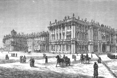 St Petersburg, Winter Palace, wood engraving c. 1880.