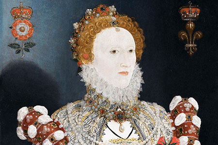 Nicholas Hilliard, Portrait of Queen Elizabeth I c.1573-1575. Oil on wood panel. Walker Art Gallery, Liverpool, England ©Alamy Stock Photo.
