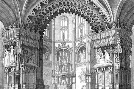Burgos Cathedral, Capilla del Condestable, steel engraving c. 1850.
