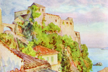 Kotor, Montenegro, watercolour by William Tyndale, publ. 1925.