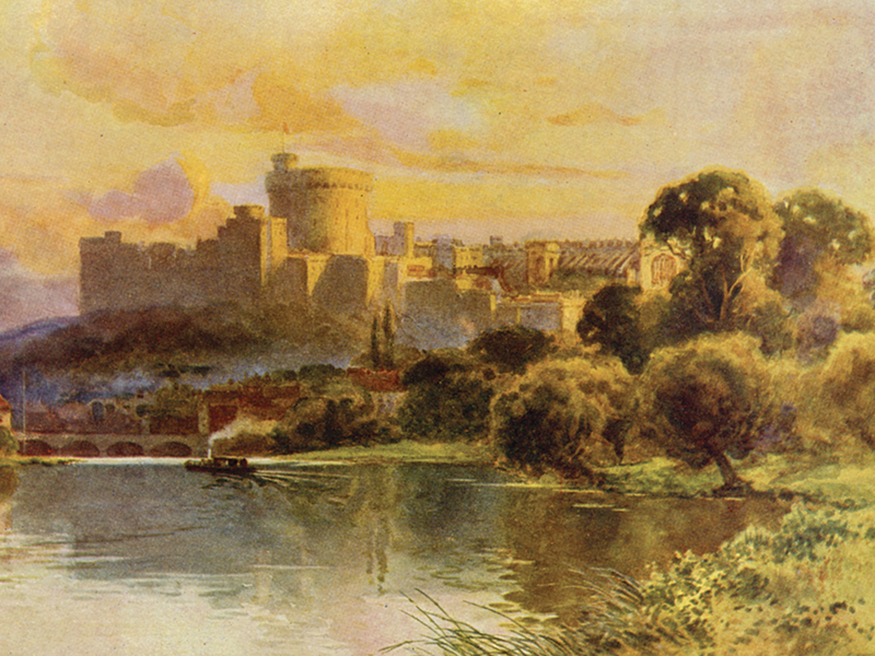 Windsor Castle from the Thames, watercolour by E. Haslehurst, publ. 1910.
